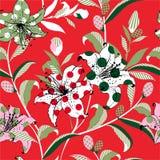 Stile di Pop art del fiore di fioritura variopinto del giardino del giglio in e dell'umore di divertimento da riempire con i pois illustrazione vettoriale