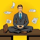 Stile di Pop art del fumetto di meditazione dell'uomo d'affari illustrazione vettoriale