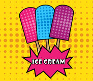 Stile di Pop art del gelato popsicle Gelato su un bastone royalty illustrazione gratis