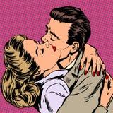 Stile di relazione di amore di abbraccio della donna dell'uomo di passione illustrazione vettoriale