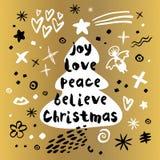 Stile di schizzo del buon anno di Buon Natale Fotografia Stock