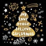 Stile di schizzo del buon anno di Buon Natale Illustrazione di Stock