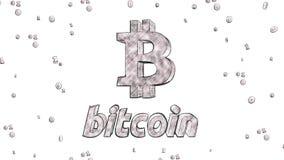 Stile di schizzo dell'illustrazione di logo 3D di cryptocurrency di Bitcoin illustrazione vettoriale