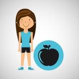 Stile di sport di nutrizione della mela della ragazza dell'atleta Fotografie Stock