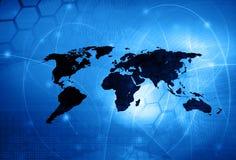 Stile di tecnologia della mappa di mondo Fotografia Stock Libera da Diritti