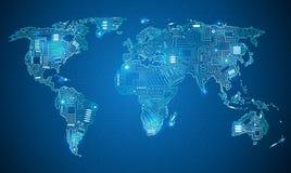 Stile di tecnologia della mappa di mondo Fotografie Stock Libere da Diritti
