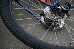 Stile di vita attivo: la ruota posteriore di una bicicletta si trova sull'asfalto B fotografie stock libere da diritti
