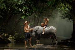 Stile di vita dell'agricoltore della famiglia all'Asia rurale Fotografia Stock