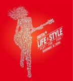Stile di vita di musica, digitale, gioco, illustrazione di vettore Immagini Stock