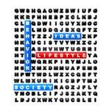 Stile di vita di puzzle di ricerca di parola Fotografie Stock