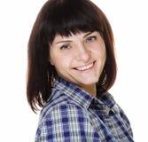Stile di vita e concetto della gente: Chiuda sul ritratto di una donna sorridente fotografia stock libera da diritti