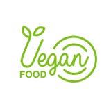 Stile di vita geometrico di Logo Design Template Promoting Healthy di verde naturale dell'alimento del vegano e prodotti di Eco Immagini Stock Libere da Diritti