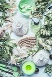 Stile di vita sano con la stazione termale, strumenti verdi di massaggio e di benessere ed accessori di erbe mettenti, vista supe fotografia stock