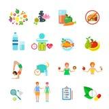 Stile di vita sano di nutrizione di dieta vector l'insieme dell'icona Fotografia Stock Libera da Diritti