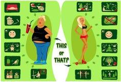 Stile di vita sano e vita distruttiva Immagini Stock