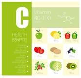 Stile di vita sano infographic - vitamina C in frutta ed in verdure Fotografia Stock