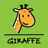 Stile disegnato a mano della giraffa sveglia, illustrazione di vettore Fotografie Stock