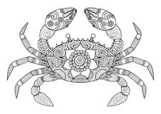 Stile disegnato a mano dello zentangle del granchio per il libro da colorare per l'adulto Immagine Stock