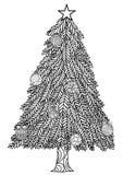 Stile disegnato a mano dello zentangle dell'albero di Natale con le palle di Natale ed i contenitori di regalo Fotografia Stock Libera da Diritti