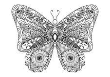 Stile disegnato a mano dello zentangle della farfalla per il libro da colorare Fotografie Stock Libere da Diritti
