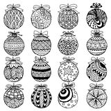 Stile disegnato a mano dello zentangle delle palle di Natale per il libro da colorare Fotografia Stock Libera da Diritti