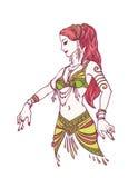 Stile disegnato tribale di Girl del ballerino di pancia o del ballerino a disposizione Illustrazione di vettore per la vostra acq Fotografia Stock Libera da Diritti