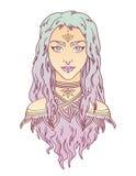 Stile disponibile di tiraggio del bello ritratto tribale della ragazza Immagini Stock