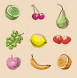 Stile dissipato delle icone della frutta a disposizione Fotografia Stock Libera da Diritti