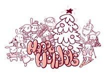 Stile felice di scarabocchio della cartolina di Natale dei conigli di feste illustrazione vettoriale