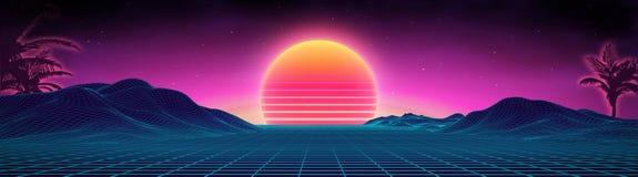 Stile futuristico degli anni 80 del paesaggio del retro fondo Superficie cyber del retro paesaggio di Digital fondo del partito 8 illustrazione di stock