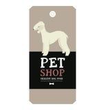 Stile geometrico del bedlington terrier dell'etichetta di progettazione del negozio di animali del manifesto Immagine Stock Libera da Diritti