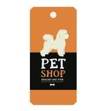 Stile geometrico di Bichon Frise dell'etichetta di progettazione del negozio di animali del manifesto Immagini Stock