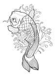 Stile giapponese del tatuaggio del pesce di Koi Fotografia Stock
