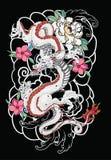Stile giapponese del vecchio tatuaggio del drago Fotografie Stock Libere da Diritti