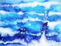 Stile giapponese disegnato a mano di verniciatura dell'acquerello minimo blu dell'onda Immagini Stock