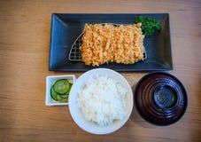Stile giapponese stabilito di bento di Tonkatsu fotografia stock