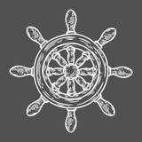 Stile inciso illustrazione disegnata a mano di vettore del timone Retro scarabocchio nautico d'annata Fotografia Stock