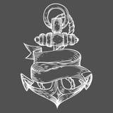 Stile inciso illustrazione disegnata a mano di vettore dell'ancora Retro scarabocchio nautico d'annata Fotografia Stock