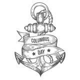 Stile inciso illustrazioni disegnate a mano felici di vettore di giorno di Colombo Immagine Stock