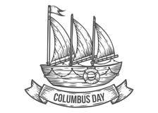 Stile inciso illustrazioni disegnate a mano felici di vettore di giorno di Colombo Fotografie Stock Libere da Diritti