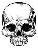 Stile inciso inciso intaglio in legno d'annata del cranio retro illustrazione di stock
