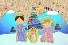 Stile infantile di scena di natività della cartolina di Natale Fotografia Stock