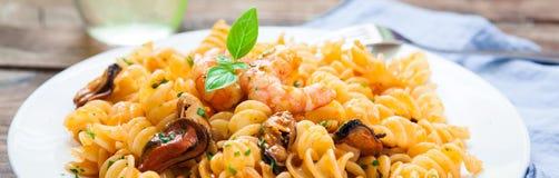 Stile italiano della pasta dei frutti di mare Fotografia Stock Libera da Diritti