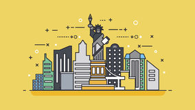 Stile lineare dell'icona di U.S.A. Immagine Stock