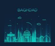 Stile lineare dell'illustrazione di vettore dell'orizzonte di Bagdad Fotografia Stock