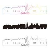 Stile lineare dell'orizzonte di Aalborg con l'arcobaleno Fotografia Stock Libera da Diritti