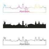 Stile lineare dell'orizzonte di Aberdeen con l'arcobaleno Immagine Stock Libera da Diritti