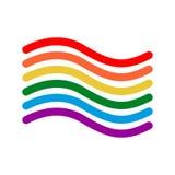 Stile lineare della bandiera di LGBT Segno dell'arcobaleno Simbolo gaio Immagini Stock Libere da Diritti