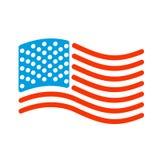Stile lineare della bandiera di U.S.A. Segno dello stato Stati Uniti Simbolo dell' Immagine Stock Libera da Diritti