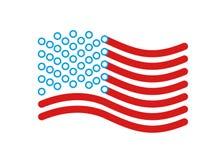 Stile lineare della bandiera di U.S.A. Segno dello stato Stati Uniti Simbolo dell' Immagini Stock